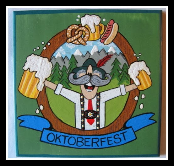 Oktoberfest Painted Ceramic Tile