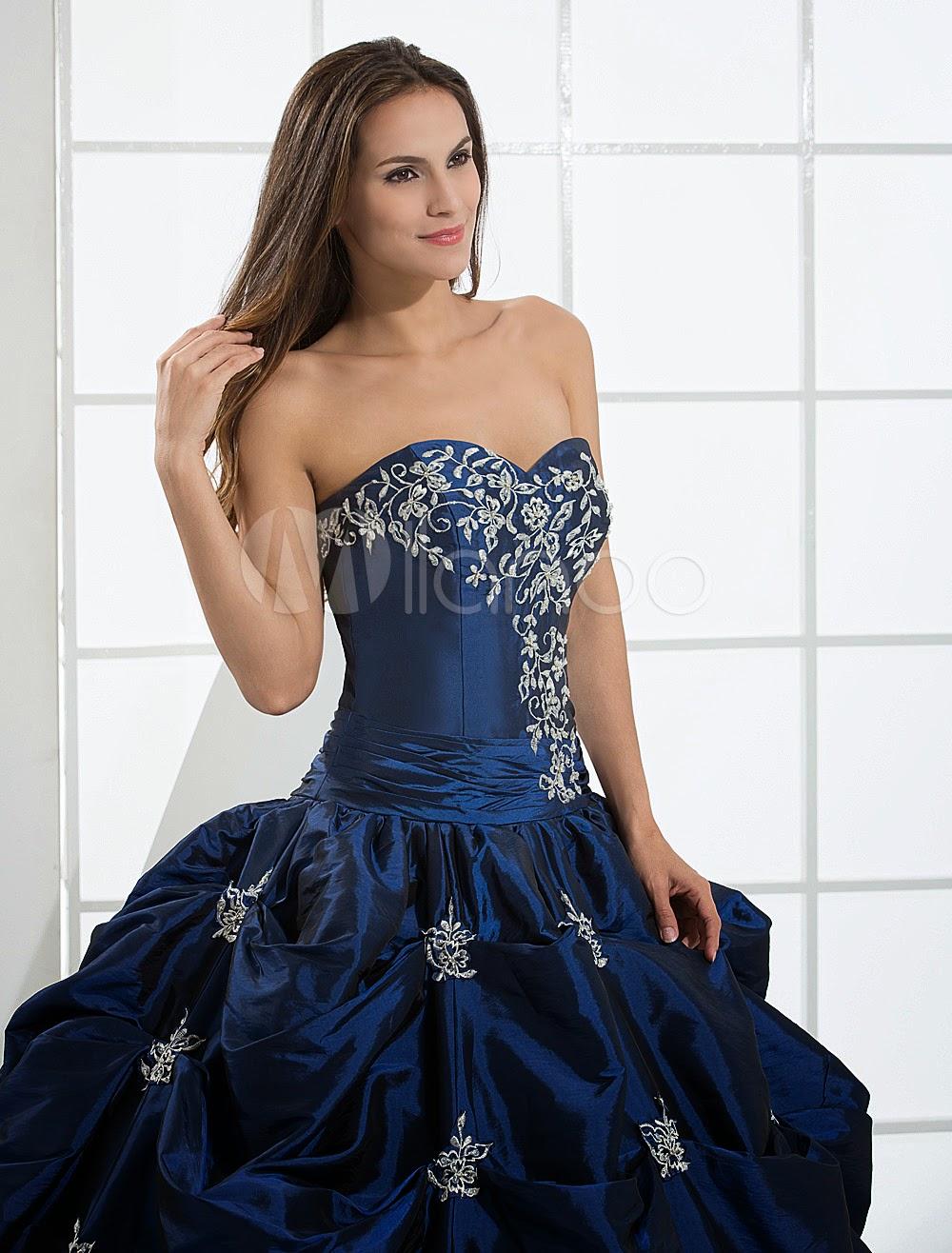 Robes sexy - Robe de bal bleu en taffetas avec perle