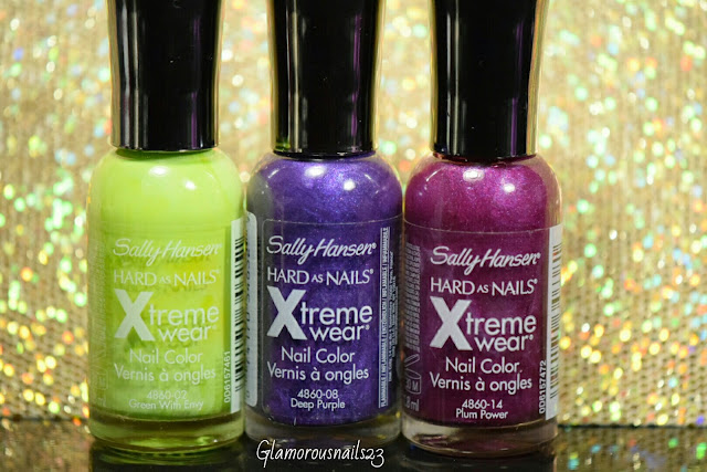 Sally Hansen Xtreme Wear Green With Envy, Sally Hansen Xtreme Wear Deep Purple, Sally Hansen Xtreme Wear Plum Power