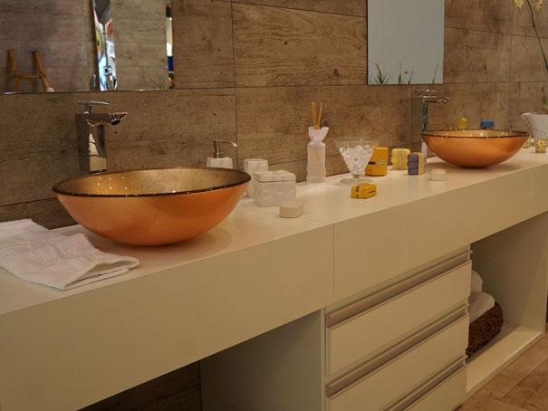 Construindo Minha Casa Clean Banheiros e Lavabos Decorados com Cubas Douradas! -> Banheiro Pequeno Oq Fazer