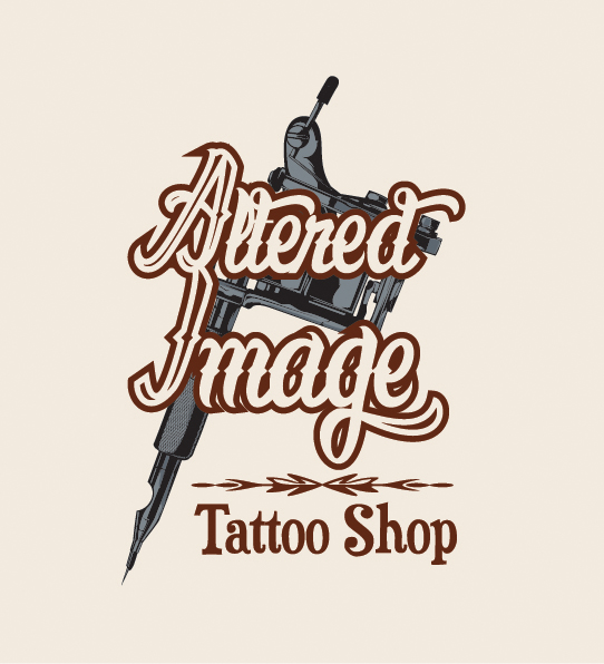 altered image tattoo shop logo business card