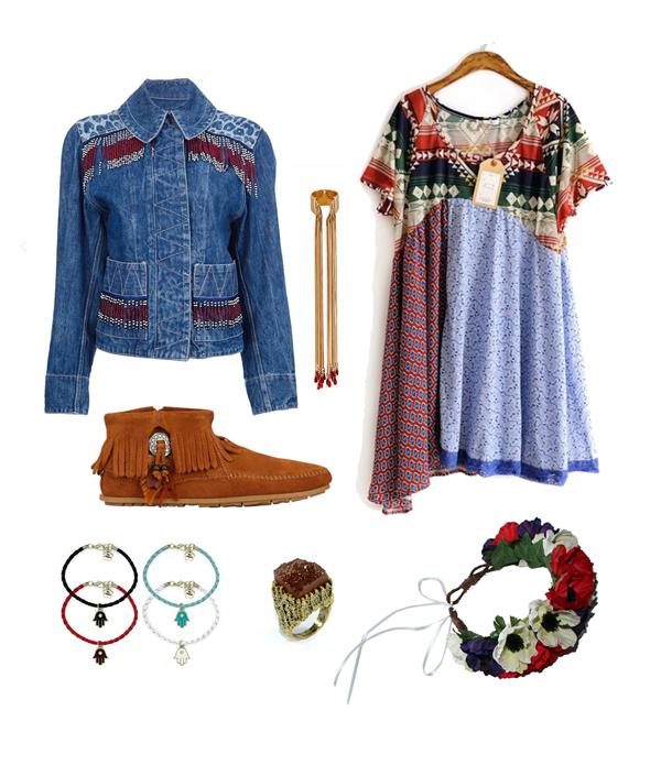 festival look, ethnic fabrics, flower crown, floral headwear, embroidered denim jacket