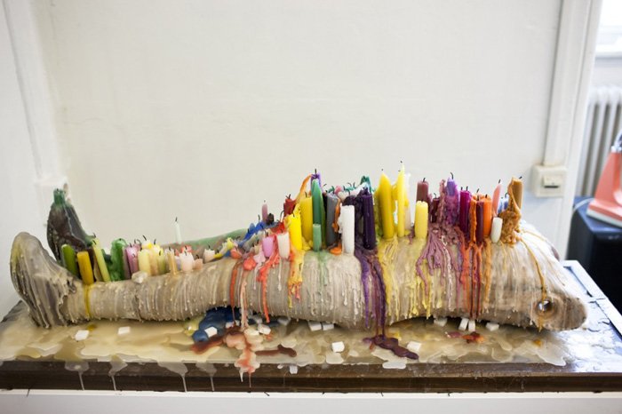 Amie Dicke Amsterdam studio candles sculpture