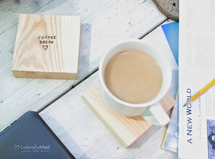 Drewniane podkładki pod kawę/herbatę, prezent, handmade, drewno z wypalanym napisem