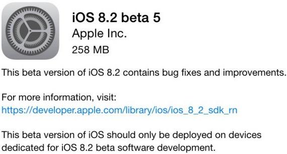 Apple iOS 8.2 Beta 5 OTA (12D5480a)