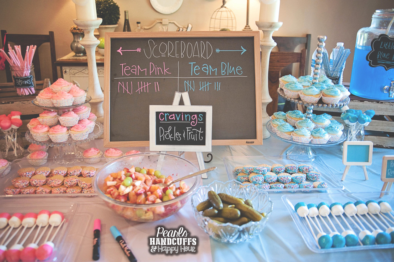 Pearls, handcuffs, and happy hour: gender reveal party