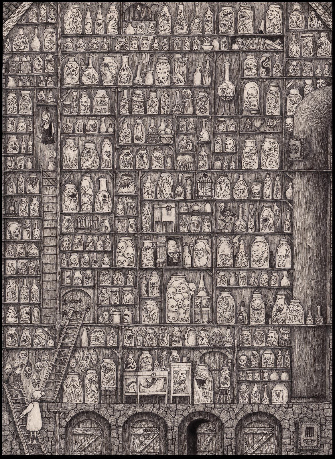 A sketch of hundreds of bottles with numerous creatures in them arranged on giant bookshelf