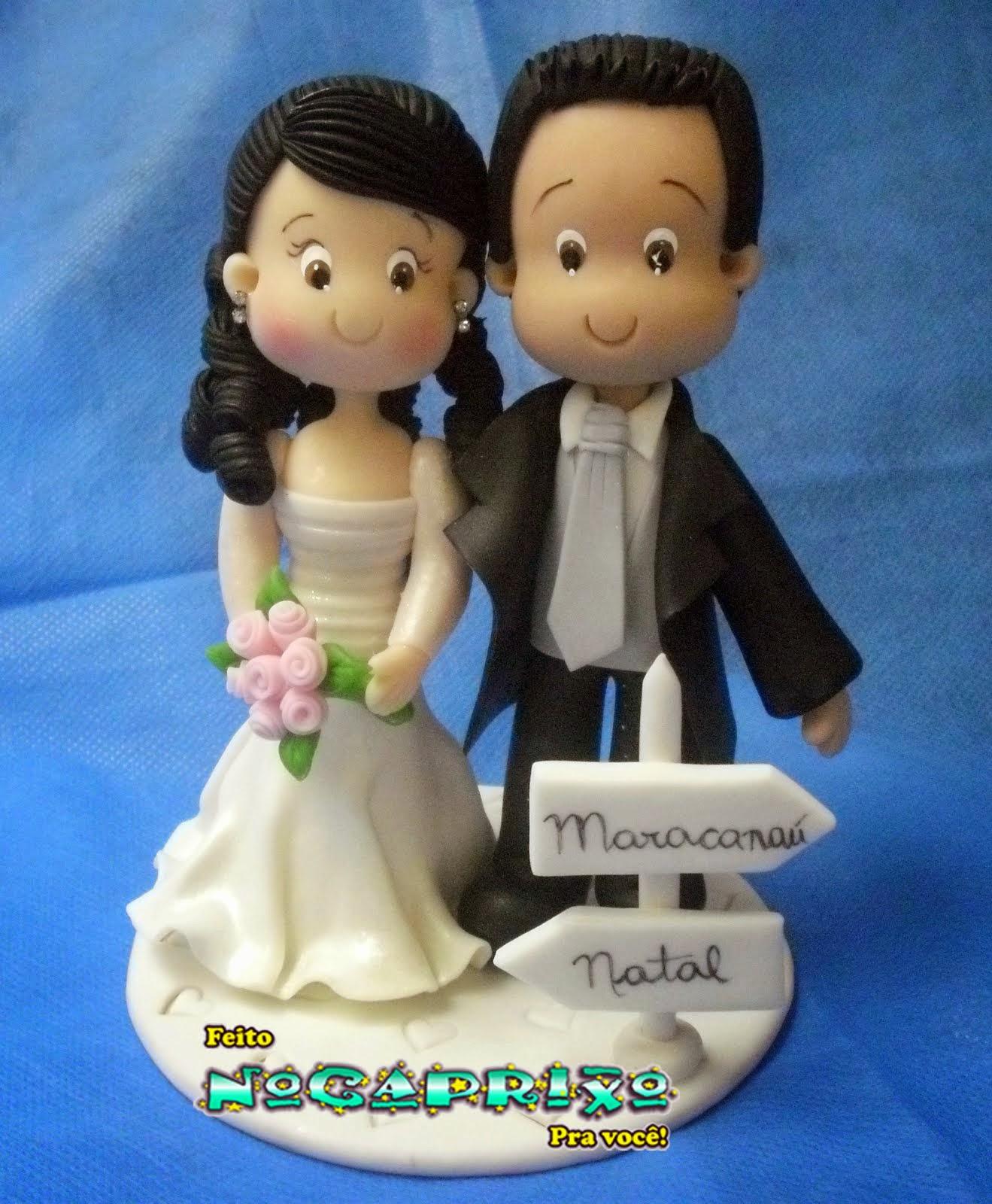 Topo de Bolo de Casamento em Biscuit