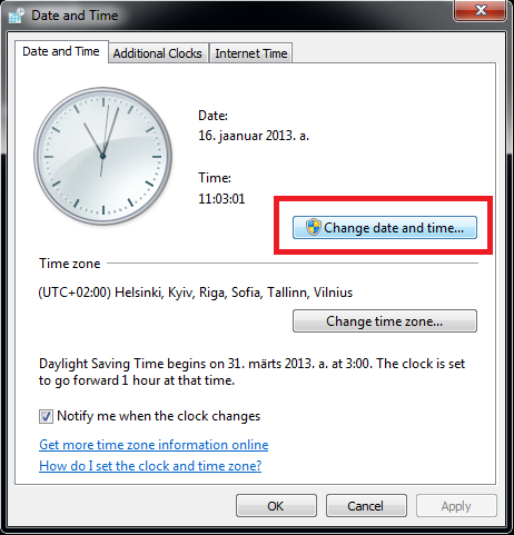 Step 2 : In the Change date and time formats settings, select the date ...
