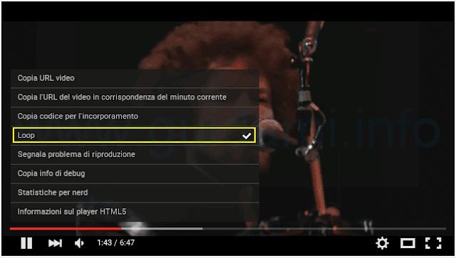 Funzione Loop YouTube per ripetere video all'infinito