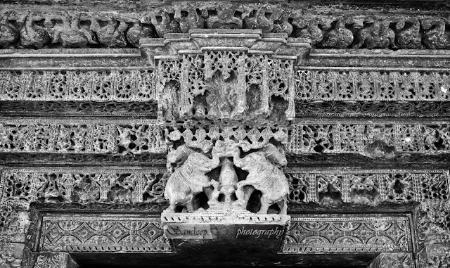 Door jamb of east door with Gaja lakshmi at the center