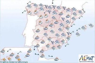 ESPAÑA: ALERTA EN 27 PROVINCIAS POR FRIO, NIEVE Y FENOMENOS COSTEROS, 29 DE ABRIL 2013