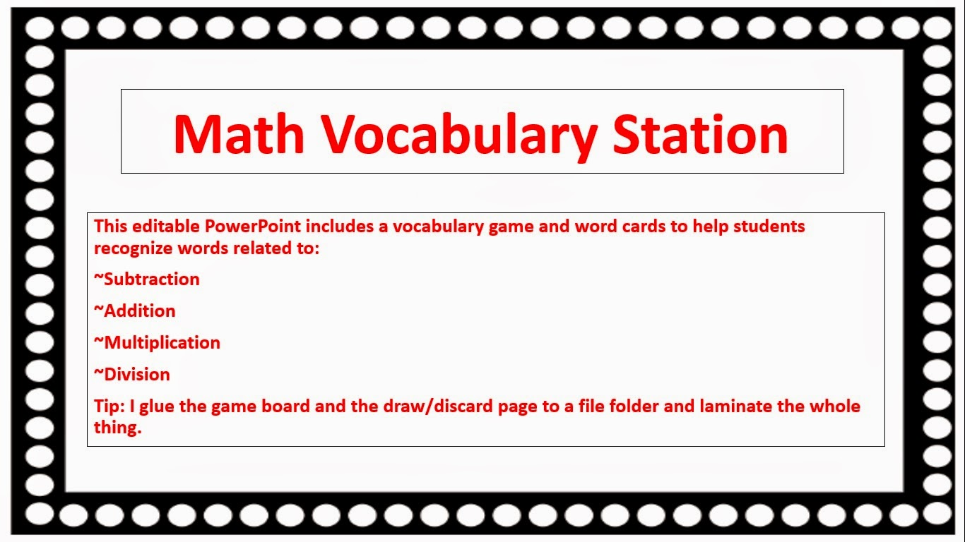 Math Vocab Worksheets : Math vocabulary division rd grade interactive