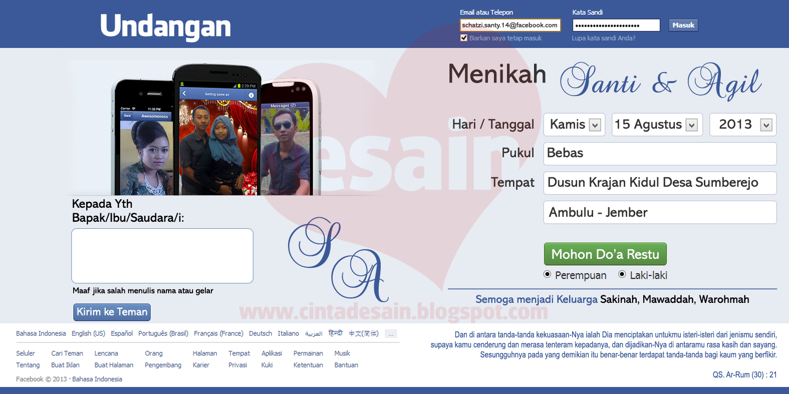 Undangan Model Facebook Format Adobe Photoshop Gratis