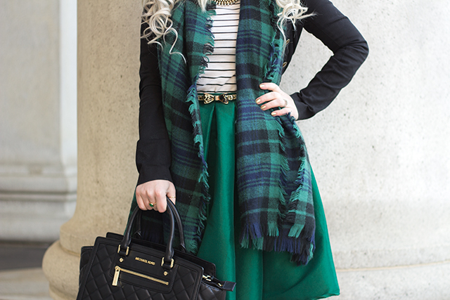 Emerald green midi skirt with a plaid blanket scarf, quilted Michael Kors bag and leopard print bow belt.