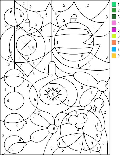 Free Christmas Color by Number Coloring Pages