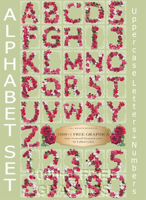 Z Alphabet In Rose 1000+1 FREE GRAPHICS : Floral Alphabet Set - Roses - Uppercase Letters ...