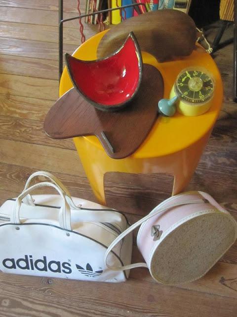 70s Adidas bag , boomerang cheese plate , Gilbert Valentin ceramic  1950 50s 1960 60s 1970 70s stool