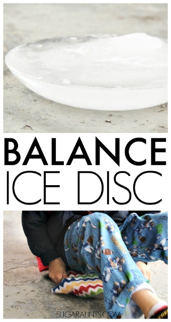 Make a wobble balance disc from ice for sensory input and balance training. This helps kids with attention, strengthening, and fidgeting while incorporating sensory needs like proprioception and vestibular integration.