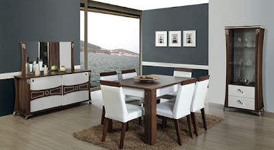 beyaz+ve+ahsap+renkli+yemek+odasi+takimi Modern,Şık,lux Delux,Yeni Trend Yemek Odası Takımları