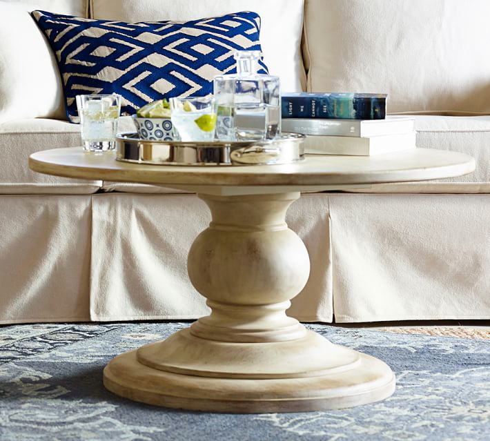 Chalkboard Painted Pedestal Coffee Table Inspired By Pottery Barn Postcards From The Ridge