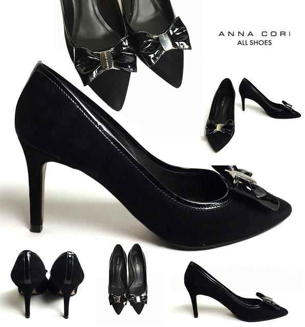 ANNA CORI-Pantofi negri  stiletto din piele naturală întoarsă şi lac, mărimea 38