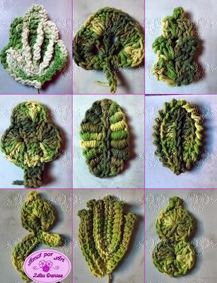 Folhas em crochê com gráfico