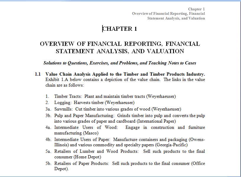 financial reporting financial statement analysis and valuation solution manual Description solution manual for financial reporting, financial statement analysis and valuation a strategic perspective 7th edition james m whalen.
