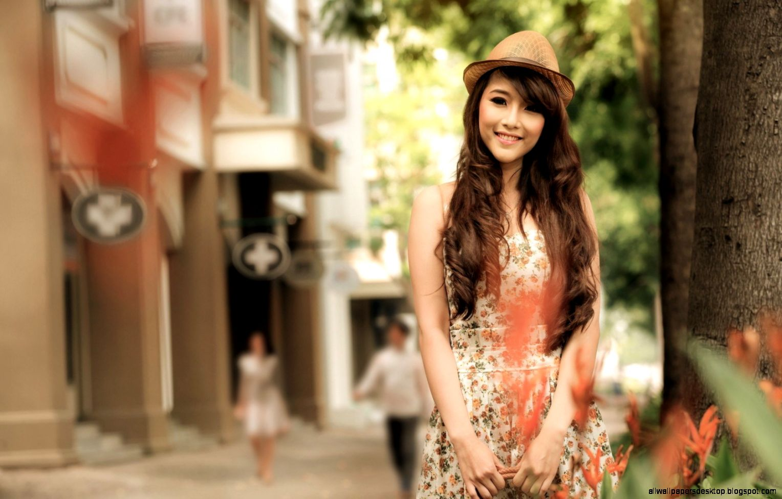 Lovely Girl Asian City Street 7022072