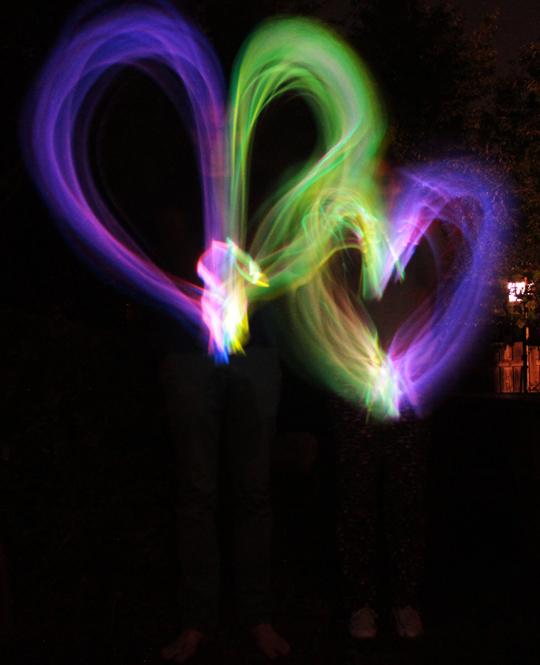 light painting photo hearts