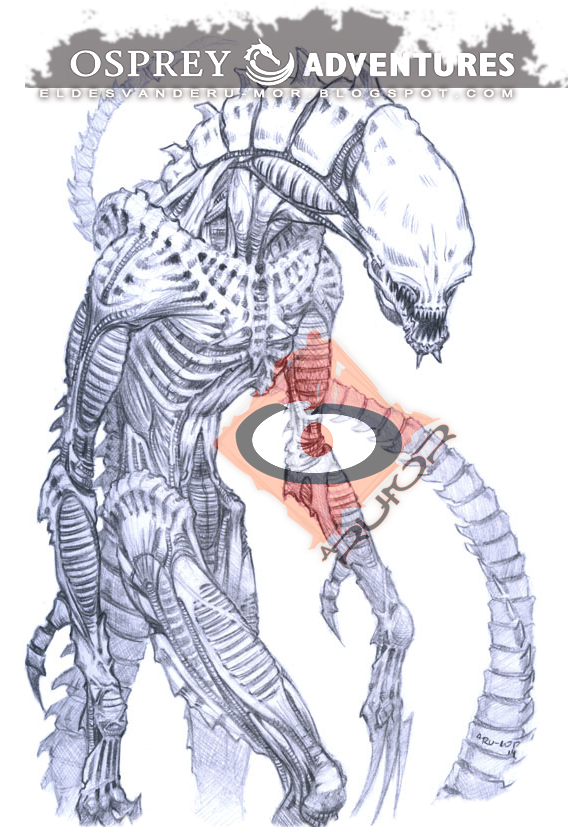 Drawing of alien creature of next book illustrated by RU-MOR for OSPREY Publishing, Osprey Adventures, aliens, bug, scifi