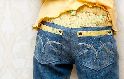 Украшаем кружевом джинсы кружевом