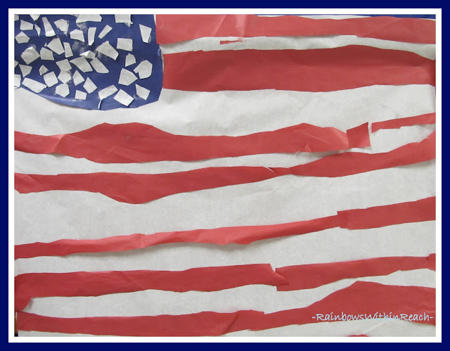 photo of: Kindergarten Created American Flag via RainbowsWithinReach