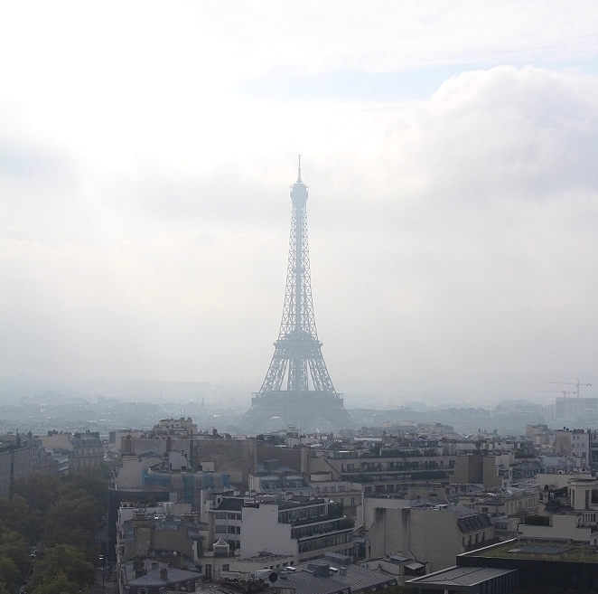 view of the eiffel tower from arc de triomphe
