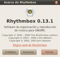 Imagen de Rhythmbox 0.13 en Ubuntu 10.04