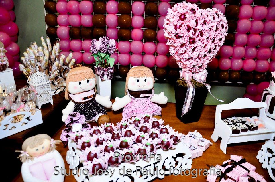 Decoração Yasmim ~ Rose's arte em festas Bonecas Marrom e rosa para linda Yasmim