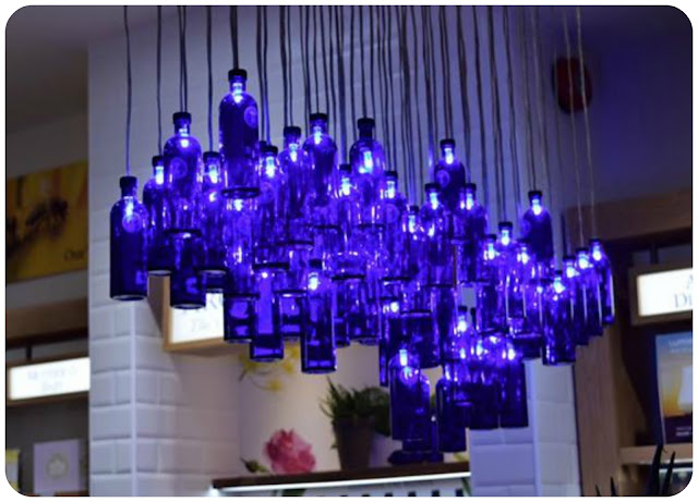 blue bottle light feature at Neal's Yard, Manchester
