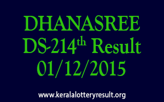 DHANASREE DS 214 Lottery Result 01-12-2015