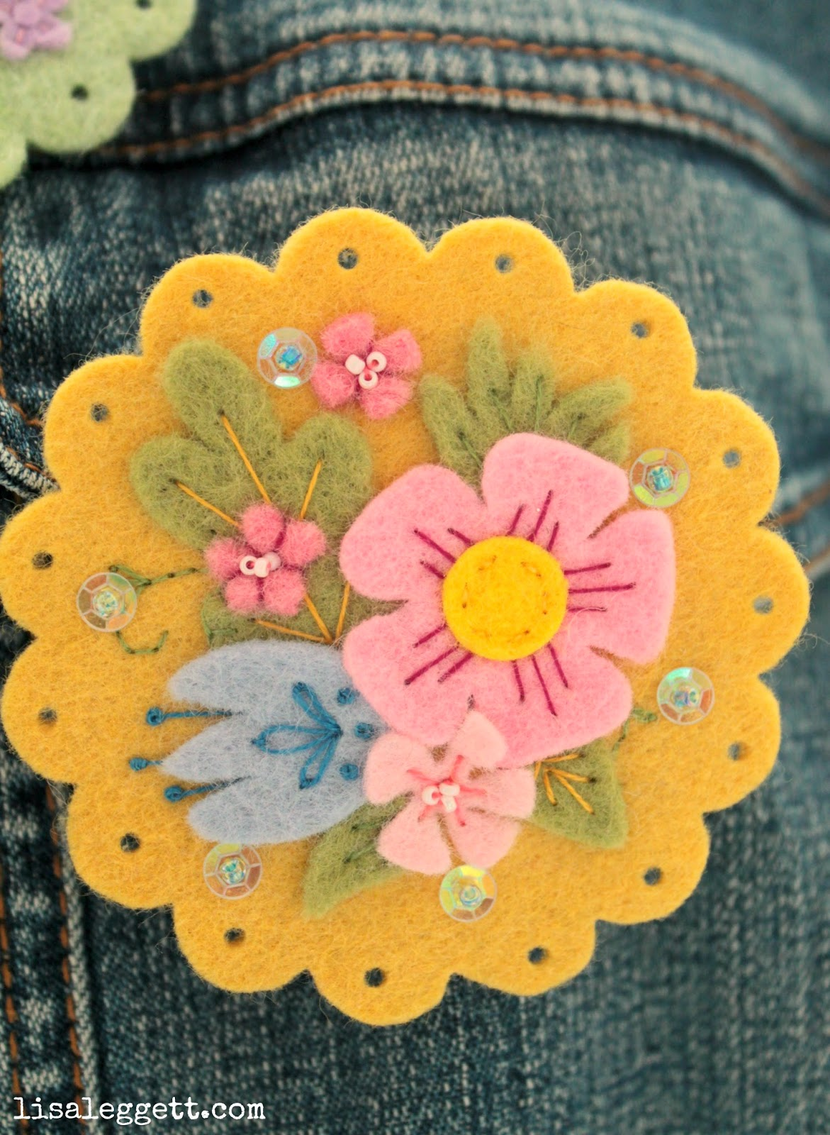 Yellow Spring Felt Broach by Lisa Leggett