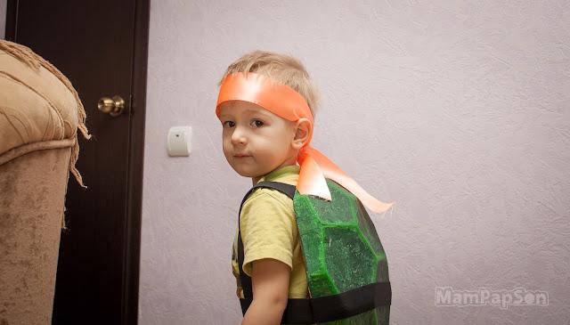 самодельный костюм черепашки-ниндзя для ребенка