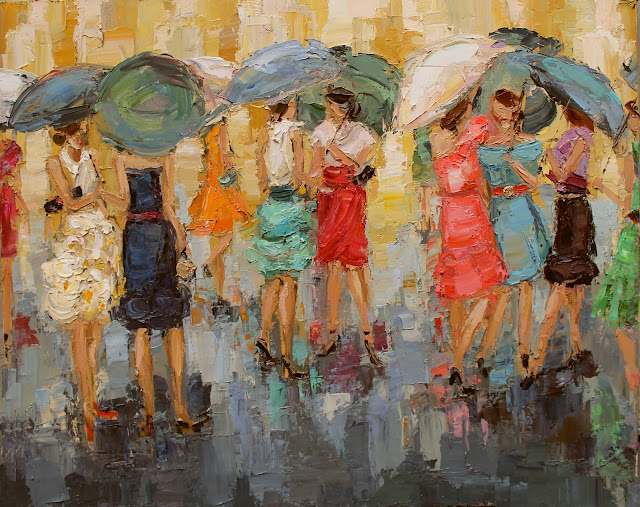 fashion ladies by kathryn morris trotter, kathryntrotterart.com, dancing in the rain, umbrella fashion ladies, fashion painting