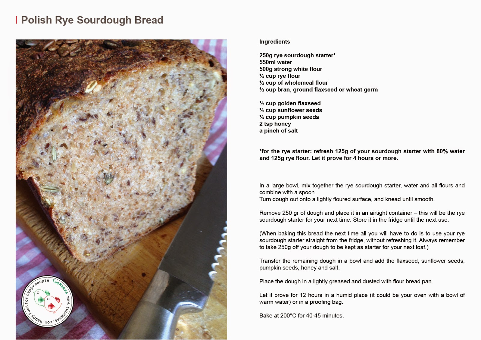 Polish Sourdough Mixed Seeds and Rye Bread | two mamas blog