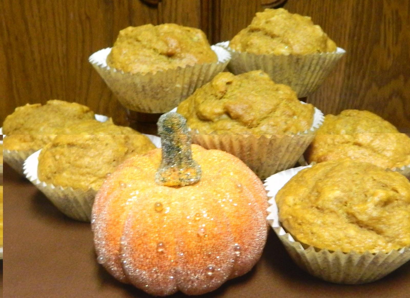 Sugar Spice and Spilled Milk: Pumpkin Nut Sourdough Muffins