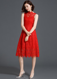 New 2016 Red/Black Sleeveless High Neck Flare Scallop Wave Lace