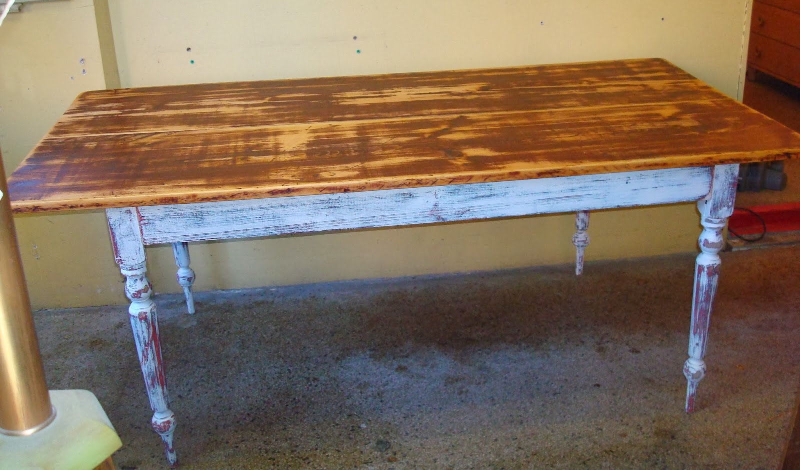 Distressed Painted Harvest Table With A Double Plank Pine Top
