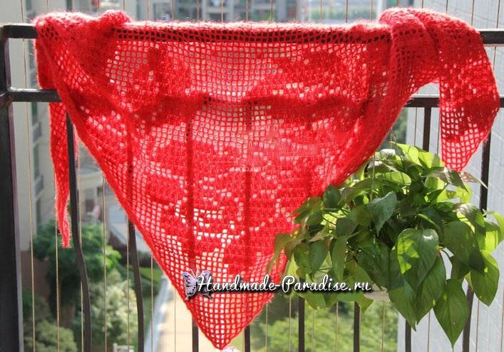 Кашемировая красная шаль крючком
