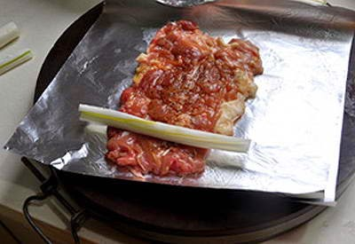 Grilled Rolled Chicken with Poireau Onion - Gà Nướng Cuộn Hành Ba Rô