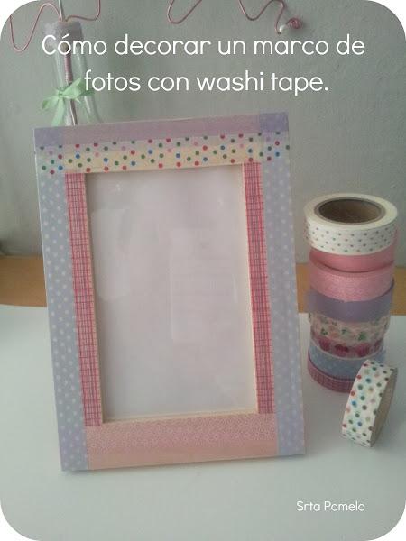 Como decorar marco fotos aprender manualidades es - Decorar con washi tape ...