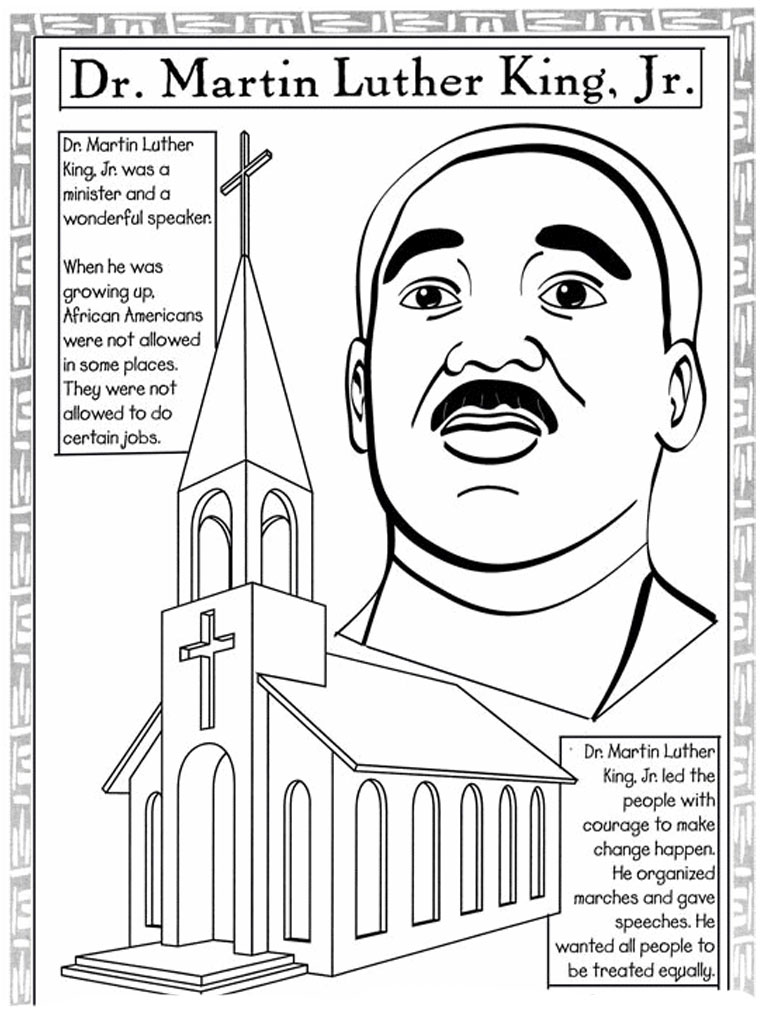Challenger image for martin luther king coloring sheets printable