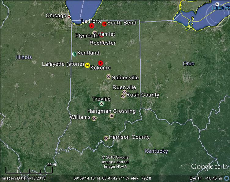 Meteorite Maps and Impact Craters - Worldwide: Indiana Meteorites Map